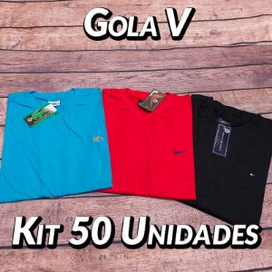 Kit 50 UN - Camiseta Gola V Lisa