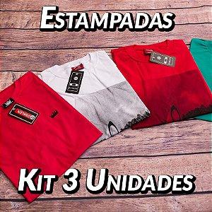 Kit 3 UN - Camiseta Estampadas Premium - Variadas - Roupas no Atacado