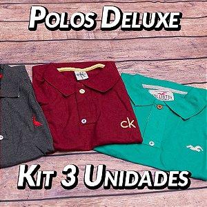 Kit 3 UN - Camiseta Polo Luxo Masculina - Variadas - Roupas no Atacado