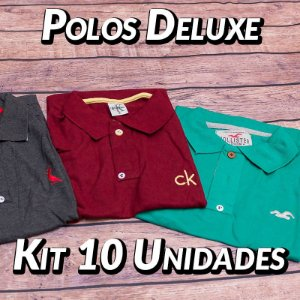 Kit 10 UN - Camiseta Polo Luxo Masculina