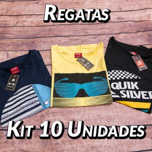 Kit 10 UN - Camiseta Regata Estampada