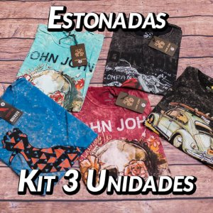 Kit 3 UN - Camiseta Estonadas ( Lavadas ) - Variadas