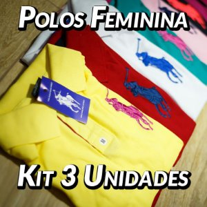 Kit 3 UN - Camiseta Polo Ralph Lauren Feminina
