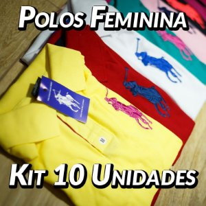 Kit 10 UN - Camiseta Polo Ralph Lauren Feminina