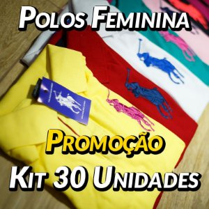 Kit 30 UN - Camiseta Polo Ralph Lauren Feminina