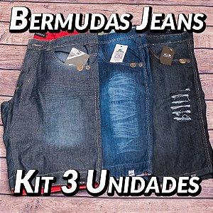Kit 3 UN - Bermudas Jeans Masculinas - Variadas - Roupas no Atacado