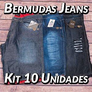 Kit 10 UN - Bermudas Jeans Masculinas