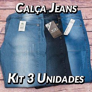 Kit 3 UN - Calças Jeans - Marcas Variadas - Roupas no Atacado