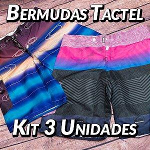 Kit 3 UN - Bermudas Tactel - Marcas Variadas - Roupas no Atacado