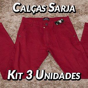 Kit 3 UN - Calças Sarja - Marcas Variadas - Roupas no Atacado