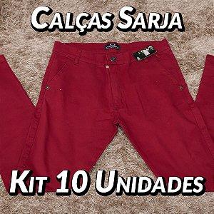Kit 10 UN - Calças Sarja - Marcas Variadas - Roupas no Atacado
