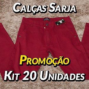 Kit 20 UN - Calças Sarja - Marcas Variadas - Roupas no Atacado
