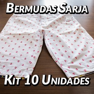 Kit 10 UN - Bermudas Sarja - Marcas Variadas - Roupas no Atacado