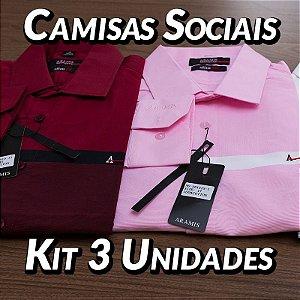 Kit 3 UN - Camisa Social Masculina - Marcas Variadas - Roupas no Atacado