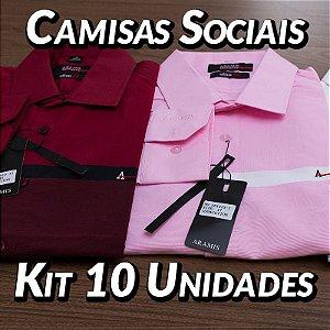 Kit 10 UN - Camisa Social Masculina - Marcas Variadas - Roupas no Atacado