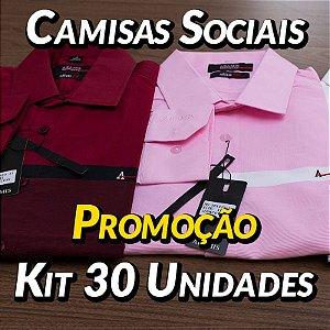 Kit 30 UN - Camisa Social Masculina - Marcas Variadas - Roupas no Atacado
