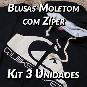 Blusas Moleton com Zíper - 3 UN - Marcas Variadas - Roupas no Atacado
