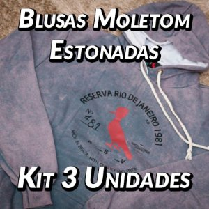 Blusas Moleton Estonadas - 3 UN - Marcas Variadas - Roupas no Atacado