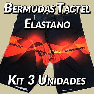 Kit 3 UN - Bermudas Tactel Elastano - Marcas Variadas - Roupas no Atacado