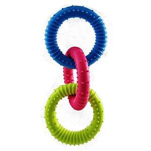Brinquedo Argolas Triplas de Borracha Para Cães 18cm