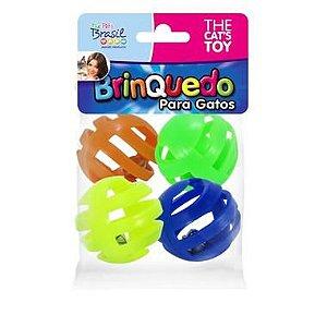 Brinquedo Bolinhas Plásticas Com Guizo Cat's Toy Para Gatos - 4 Unidades