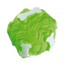 Bola Com Osso Vinil Verde 7.5 Cm