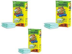 Tapete Higiênico Super Secão Para Cães - 90 unidades - Kit com 3 Pacotes