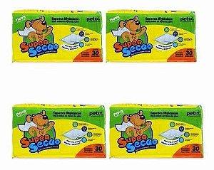 Tapete Higiênico Super Secão Para Cães - 120 unidades Kit com 4 pacotes (30 Unidades cada)