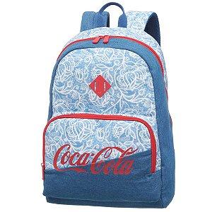 Mochila Juvenil Notebook Universitária Coca-Cola Lace Azul