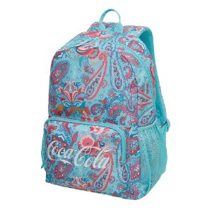 Mochila Feminina Adulto Juvenil Coca-Cola Folk Azul
