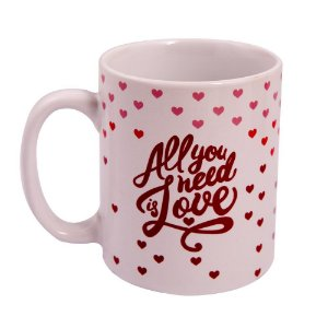 Caneca Personalizada de Cerâmica Uatt All You Need is Love 300ml