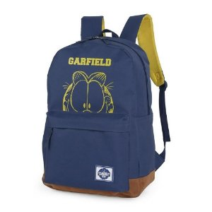 Mochila Escolar Juvenil Básica Garfield Azul