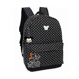 Mochila Feminina Escolar Disney Tsum Tsum Preta