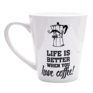 Caneca Personalizada Uatt Cerâmica Life is Better 360ml