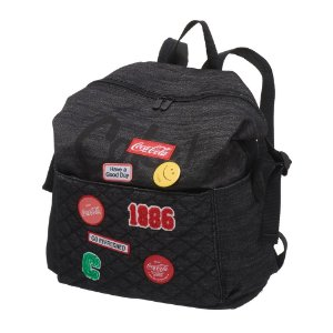 Mochila Feminina Adulto Juvenil Patches Coca-Cola Black Jeans