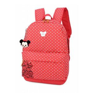 Mochila Feminina Escolar Disney Tsum Tsum Vermelha