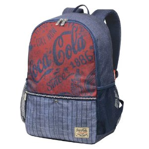 Mochila Unissex Adulto Juvenil Notebook Coca-Cola Stripes Jeans