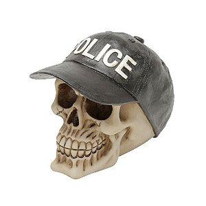 Caveira Decorativa de Resina Police Boné