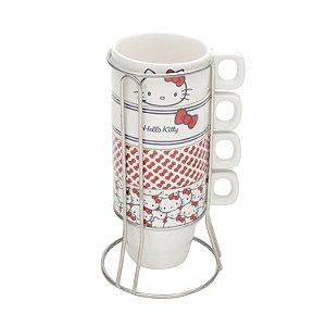 Jogo 4 Xícaras Porcelana Hello Kitty 220ml