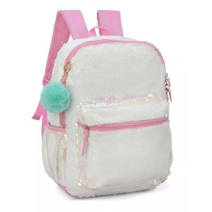 Mochila Feminina Escolar Up4you Paetês Pompom