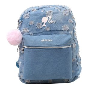 Mochila Feminina Escolar Jeans Up4you Barbie Pompom