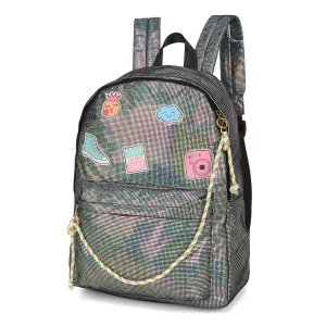 Mochila Feminina Escolar Up4you Brilho Patches Coloridos