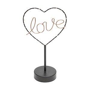 Luminária Decorativa de Mesa em Metal com Led Love Heart