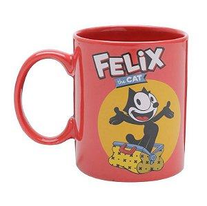 Caneca Porcelana Vermelha Geek Gato Felix 300ml