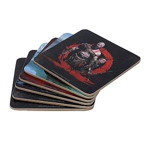 Jogo com 6 Porta Copos em Cortiça Geek God of War