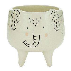 Cachepot Decorativo Cerâmica Elefante Charmoso Branco