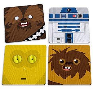 Jogo com 4 Porta Copos Geek Side Faces 9x9cm