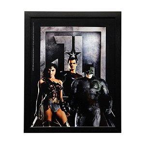 Quadro Vidro DC Comics Liga da Justiça Movie Personagens Preto 31x39cm
