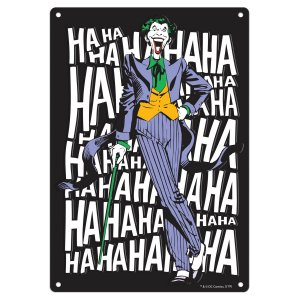 Placa Alumínio Alto Relevo DC Comics Joker Laugh Preto 22x32cm