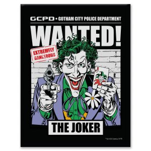 Placa Decorativa Metal DC Comics Joker Wanted Preto 20x26cm